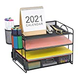 Marbrasse 4-Trays Desktop File Organizer with Pen Holder | Paper Letter Tray with Drawer and 2 Pen Holder | Mesh Office Supplies Desk Organizer for Home Office (Black)