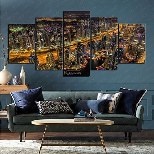 mmkow La Imagen está Impresa en 5 Piezas de decoración Moderna para el hogar de la Sala de Estar de Dubai Hecha por el Hombre 50x100 cm (Marco)