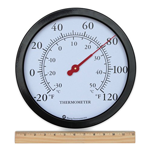 Product Image 4: Bjerg Instruments 12″ Steel Enclosure Decorative Indoor/Outdoor Patio Wall Thermometer (Black)