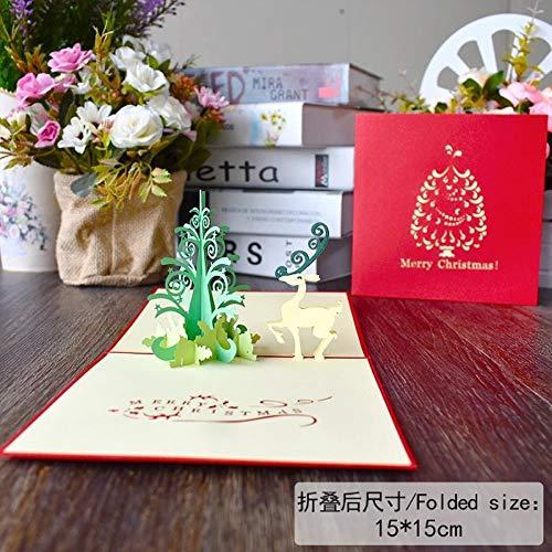 YAOJII 1 stks Vrolijke Kerstkaarten 3D Pop UP Kaarten Kerst Decoratie Wenskaarten