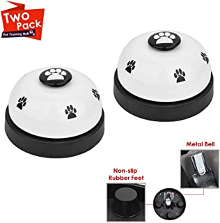 SlowTon Pet Bell, 2 Pack Metal Bell Dog Training with Non Skid Rubber Bottoms Dog Door Bell for Potty Training Clear Ring Pet Tool Communication Device for Small Dogs Cats