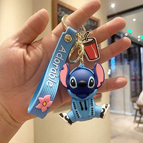 Keychain Arrive Disney Cartoon Stitch Mickey Minnie Keychains Mouse Silicone Doll Key Chain For Girls Bag Charms Car Pendant Keyrings key ring (Color : 8, Size : Normal)