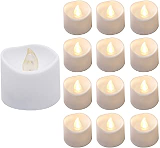 Actpe Tealight Candles with Flickering Flame, 12pcs LED Tea Lights Wax Dripped Battery Operated Candle Unscented Small Led...