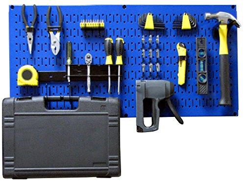 Wall Control Modular Pegboard Tool Organizer System - Wall-Mounted Metal Peg Board Tool Storage Unit for Pegboard Tiling (Blue Pegboard)