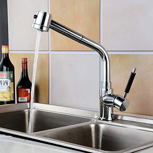 Kcakek Copper Basin Kraan warm en koud mengkraan Rotary Pull-out kraan keukenkraan Single Handle Een gat badkamer kraan Kitchen Spuitbus Sink mengkraan