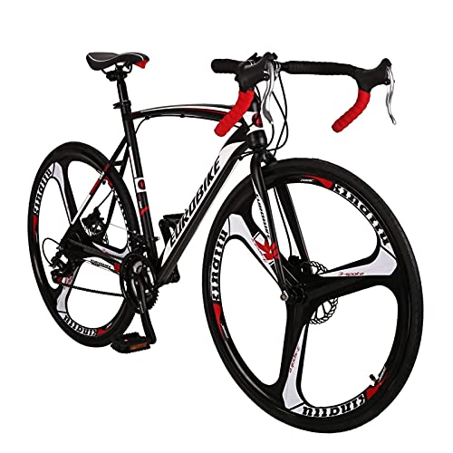 QIU Bicicleta de Carretera 700C Ruedas 21 Velocidad DAUL Disc Freno para Hombre Bicicleta de Bicicleta 54cm / 49cm