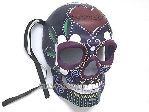 MasqStudio Mens Masquerade Skeleton Mask Day of The Dead Día de Muertos Wear or Deco (Purple)