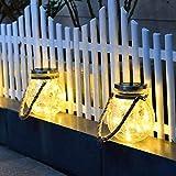 ソーラーライト明るく暖かい防水LEDナイトグラス吊り下げライト自動メイソンジャー装飾庭、庭、パティオ、フェンス、木の装飾、寝室、庭、パーティー、屋外屋内、理想的なギフト (白 2 psc)