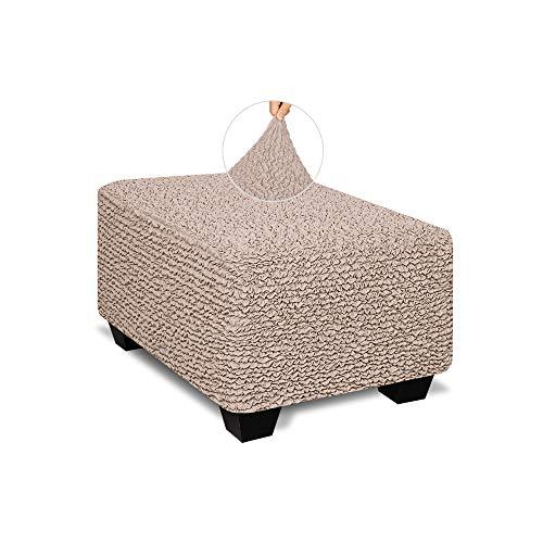 Polsterbezug für Hocker, Pouf – weicher Polyester-Stoff – 1-teiliger Stretch-Möbelschutz – Mikrofaserkollektion – Cipria (Ottoman)