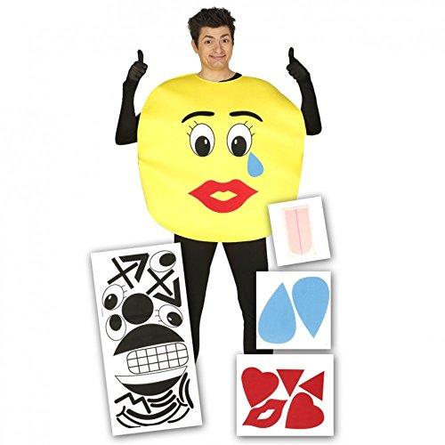 Traje de la sonrisa con pegatinas, un adulto de tamaño, la risa cara carnaval emoticonos