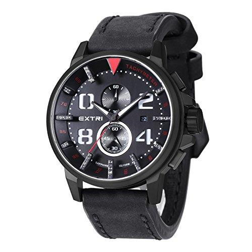 Extri Orologio da uomo cronografo quarzo pelle X3003D