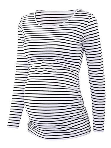 Love2Mi Camiseta de premamá de manga larga para mujer Blanco y negro. XL