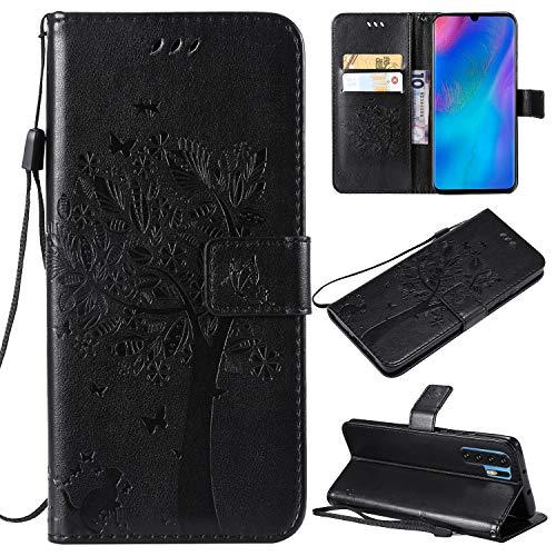 Artfeel Flip Brieftasche Hülle für Huawei P30 Pro, Leder Schwarz Hülle Geprägt Baum Schmetterling Blume Muster,Bookstyle mit Kartenfächer Magnetisch Stand Handyhülle
