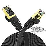 20m LANケーブル CAT7 高速 Veetop ギガビット 10Gbps 750MHz カテゴリ-7 準拠 金ツメキ RJ45コネクタ 難燃性 耐候性 屋外 耐汚い フラット 爪折れ防止 イーサネットケーブル STP PS4 PoE ADSL回線 CATV回線 光通信回線 ISDN回線に対応有線らんけーぶる(20m, 黒い)