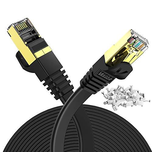Veetop 10m Lan Kabel Cat 7 Netzwerkkabel Flach für 10 Gigabit Ethernet mit vergoldetem RJ45. Schwarz