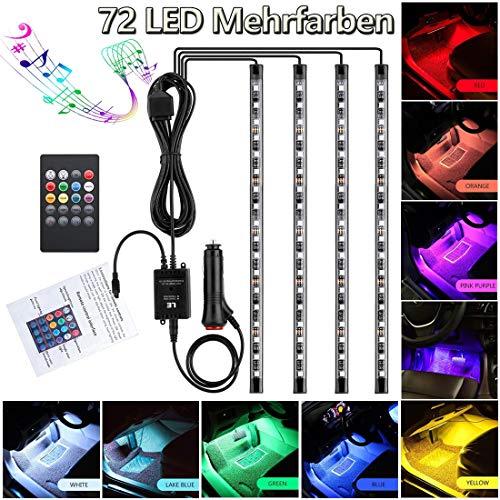 Auto LED Fußraumbeleuchtung Atmosphäre Licht Auto Innenbeleuchtung 12V RGB 72 Streifen Lichter Neon Lichter mehrfarbige Musik Induktion wasserdicht flexible StreifenLicht mit Fernbedienung (72 Leds)