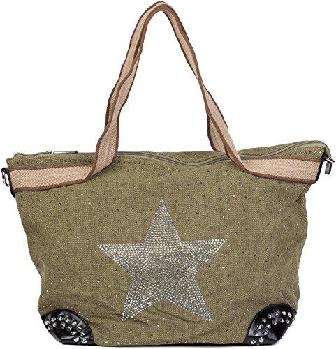 styleBREAKER Handtasche in Canvas Optik mit Strass Stern und Nieten, Schultertasche, Damen 02012066, Farbe:Oliv