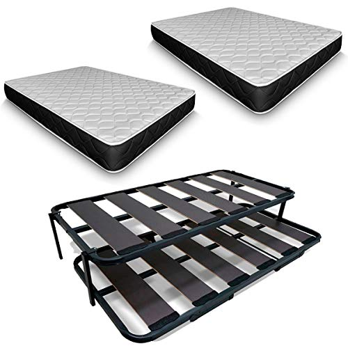 Duermete Cama Nido Completa Láminas Anchas Reforzada con 2 Colchones Viscoelásticos Pocketvisco, Sistema Anti-Ruido, Gris Antracita, 90 x 200
