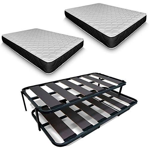 Duermete Cama Nido Completa Láminas Anchas Reforzada con 2 Colchones Viscoelásticos Pocketvisco, Sistema Anti-Ruido, Gris Antracita, 90 x 190