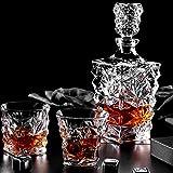 ESGT Set Caraffa per Whisky, Anter in Cristallo per Alcol con Tappo, Bicchieri dal Design Quadrato Design Trasparente per Uomo, Bicchieri da Whisky