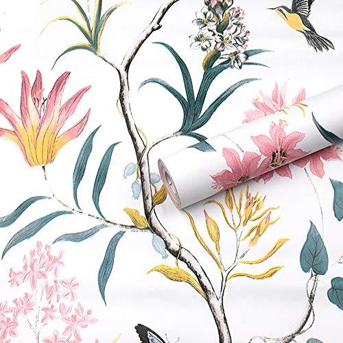 Rollo de papel tapiz rústico para pelar y pegar, vinilo floral vintage, autoadhesivo, mariposa, pájaros, papel de pared, para muebles, gabinetes, estantes, decoración de paredes 45X300CM