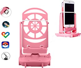 Esimen Steps Counter for Pokemon Go Cellphone Pedometer Accessories Quick Steps Earning Device with USB Cable, Phone Holder (Super Mute) -Support 2 Phones (Pink)