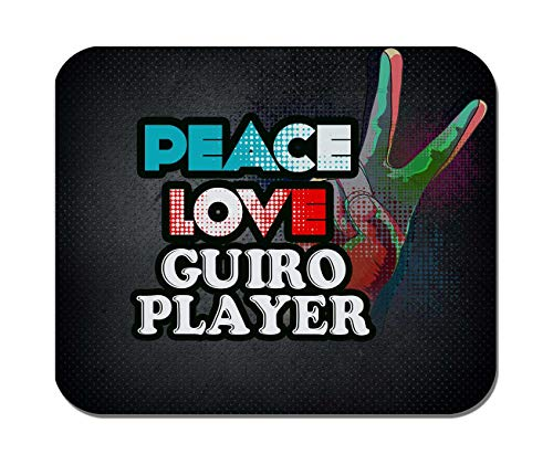 Makoroni - Peace Love Guiro Player Music- Non-Slip Rubber - Computer, Gaming, Office Mousepad