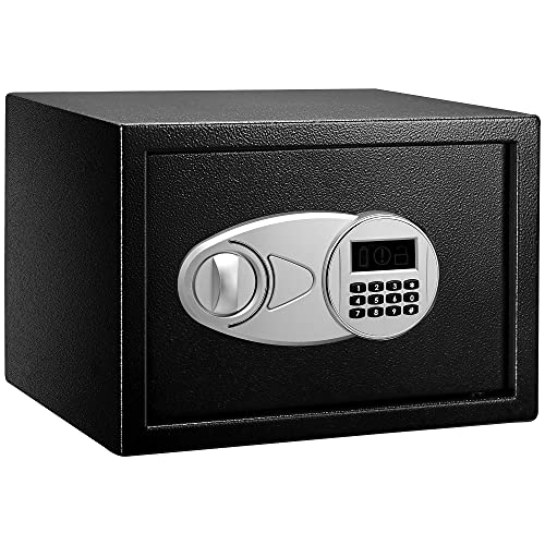 Amazon Basics Steel Security Safe and Lock Box with Electronic Keypad - Secure Cash, Jewelry, ID Documents - 0.5 Cubic Feet,13.8 x 9.8 x 9.8 Inches