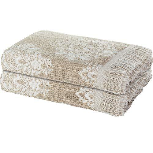 ARDENZA Juego de toallas de rizo de 2 piezas con flecos, estructura New profunda 2020, 2 toallas de mano de 48 x 90 cm, alta absorción, 400 g/m², estilo barroco, 100% algodón (beige)