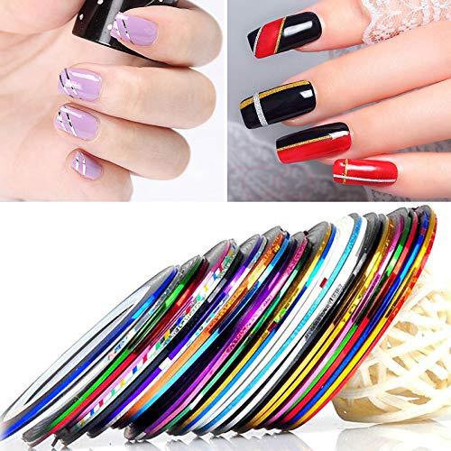 30 Colores Mixtos Rollos De Uñas,Cinta Pegatinas de Arte de Uñas de Diseño de Bricolaje, Líneas...