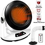 Space Heater Fan with Timer and Remote,Electric Personal Heater with Adjustable High Low Heat and Safety Features,CITUS Indoor Ceramic Heater with Heat Hose Attachment for Drying Shoes,1000 Watt