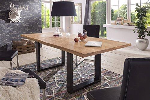 Tavolo da pranzo in legno di quercia massiccio, 180 x 100 200 x 100 220 x 100, Quercia, Naturale oliato, 180