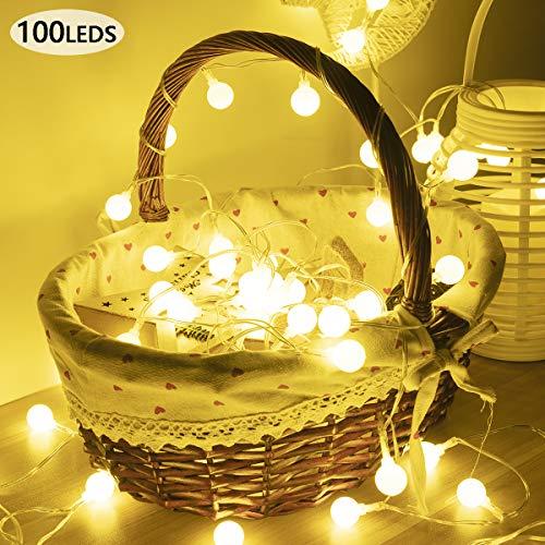 GIGALUMI 100 Led Globe Lichterkette wasserdicht warmweiße Kugel Lichterkette 10m Fernbedienung & Timer 8 Modi Beleuchtung innen außen Deko für Weihnachten, Hochzeit, Party, Balkon, Terasse usw.