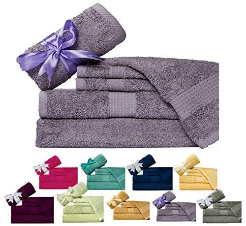 Weavely Towels - Cotton (600 GSM) 6 Piece Bath Towel Set, Hotel & Spa Quality Towel, Purple Grey Color, 2 x Bath Towels 30'X56', 2 x Hand Towels 16'X28', 2 x Wash Cloths 13'x13'
