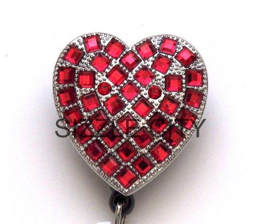 Red Heart Rhinestone Retractable Badge Reel/ID Badge Holder
