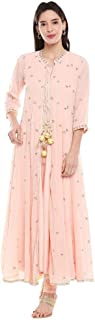BIBA Womens Mandarin Collar Solid Embroidered Layered Churidar Suit