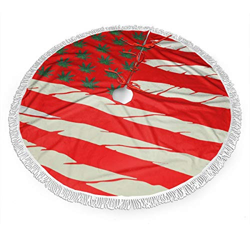 Weed USA Flag Christmas Tree Skirt Gorgeous Edge Tassel Lace for Xmas Ornaments Decoration Accessory Gift