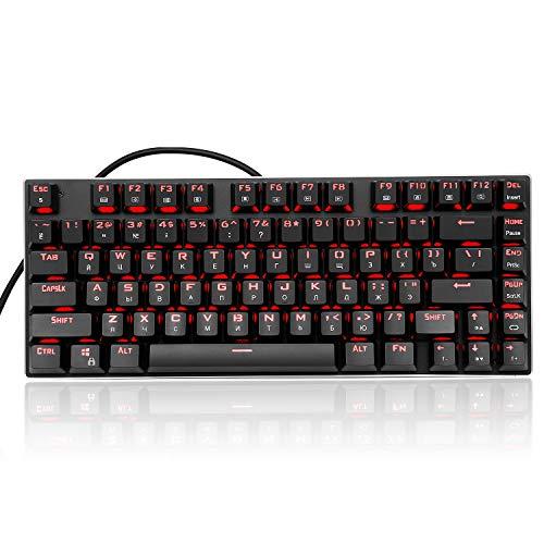 HUO JI RGB Beleuchtete Mechanische Tastatur ,TKL Kompakt 81 Tasten Outemu DIY Blaue Switches mit LED-Beleuchtung Aluminum QWERTY Layout Modular Keyboard Z-88 Schwarz