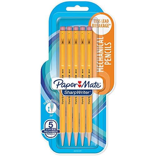 Paper Mate SharpWriter Mechanical Pencils, 0.7 mm HB #2 Lead, 6 Count