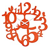 Koziol [pi:p/Pip Solid orangerot Reloj de Pared, 3.2 x 45 x 44.5 cm