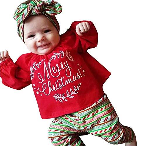 Hui.Hui Ensemble Noel Garçon Fille Lettre Imprimé T-Shirt Blouse Manches Longues Imprimé Géométrique Pantalons Bandeau Tenues Enfant Merry Christmas Automne Hiver Costume