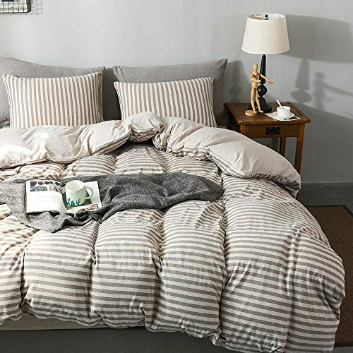 Sincethen Jersey Knit Cotton Duvet Cover Set 3 Pieces, 1 Duvet Cover and 2 Pillow Cases, Simple Striped Design, Super Soft Bedding Set and Easy Care (Queen, Brown & Beige Stripe)