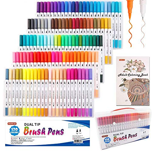 120 Colors Dual Tip Brush Art Marker Pens with 1 Coloring Book, Shuttle Art Fineliner and Brush Dual Tip Markers Set Perfect for Kids Adult Artist Calligraphy Hand Lettering Journal Doodling Writing.