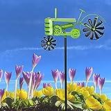 Buri Metall-Gartenstecker Traktor grün Windspiel Gartendeko Beetstecker Gartenfigur