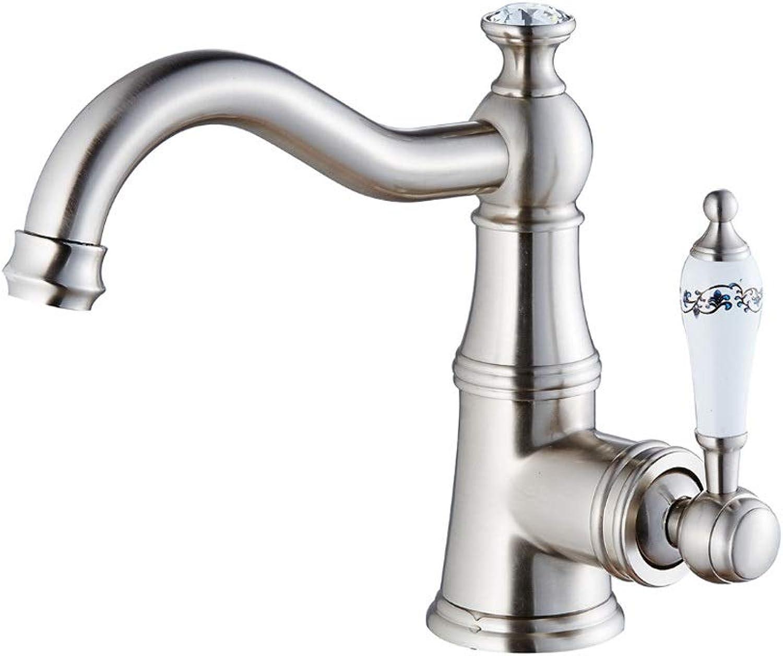 Fanxu Bad Wasserhahn Bad Waschbecken Wasserhahn, voll Kupfer gebürstet rotierenden heien und kalten Wasserhahn