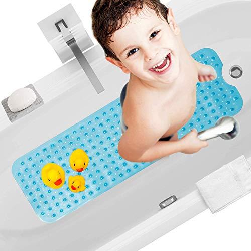 HBselect Alfombra Antideslizante Alfombrillas para Bañera 100 x 40 Cm Alfombrilla Baño Lavable a Máquina Alfombrillas Infantiles para Bañera (Azul)