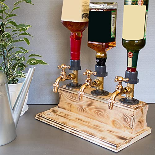 Whiskey wood Dispenser,Fathers Day Liquor Alcohol Whiskey Wood Dispenser Faucet Shape for Party Dinner Bars and Beverage Stations (01 Triple)