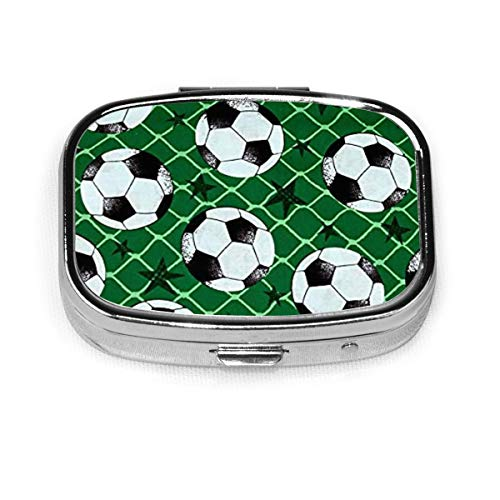 Pillendose - Kundenspezifische Fußball- und Star-Pillendosen, tragbare rechteckige Metalltasche mit Silberpillen, kompaktes 2-Raum-Gehäuse, Pillendosen für Reisen/Taschen/Geldbörsen