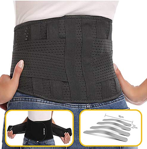 Abahub Lumbar Lower Back Brace and Support Belt with Dual Adjustable Straps,Helps Relief Pain with Sciatica, Scoliosis, Herniated, Black Large