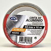 S&M Cinta aluminio negra 50 mm x 10 m (espesor 30 micras) SANEAPLAST- Cinta adhesiva de aluminio multiusos-– Rollo de 10 metros